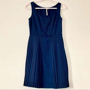 LC Lauren Conrad Navy Blue Pleated Dress